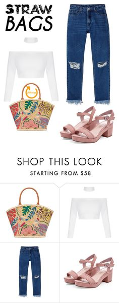 """""""Straw Bags"""" by fohnsey ❤ liked on Polyvore featuring Tory Burch, Monki and strawbags"""