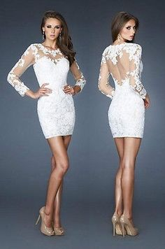 2014 Short Lace New Bridesmaid Formal Evening Gown Wedding Prom Homecoming Dress