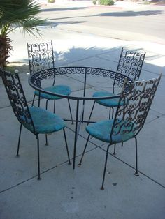 50u0027s 60u0027s ARTHUR UMANOFF SALTERINI WOODARD PATIO SET 4 CHAIRS U0026 TABLE