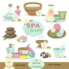 Spa Therapy clipart,digital illustration , web graphic , instant download