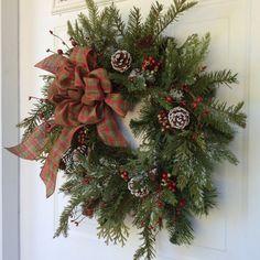 Holiday Wreath-Winter Wreath-Christmas Wreath-Rusted Jingle Bell Wreath-Evergreen Wreath-Country Wreath-Woodland Wreath-Wreath for Door