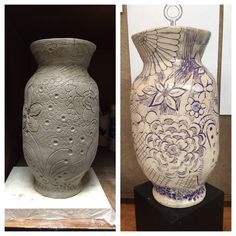 Cool built vase with reductive carving and mason stained surface. Before & after picture.