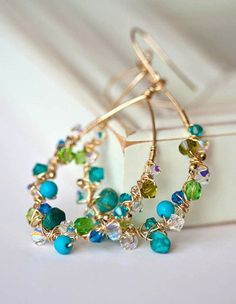 Bejeweled Teardrops Gold Filled Earrings in by Mayahelena on Etsy