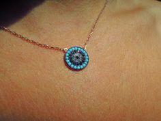Evil eye necklace, evil eye jewelry, rose gold, Turkish evil eye, protection necklace, kaballah jewelry, Birthday Gifts, Christmas gifts by ebrukjewelry on Etsy