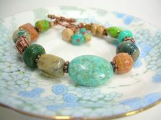 Days End  Gemstone and Copper Bracelet by JewelFireDesigns on Etsy, $35.00