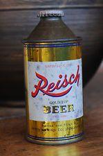Reisch Beer Cone Top Beer Can, Nice!