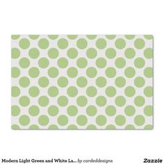 "Modern Light Green and White Large Polka Dots 10"" X 15"" Tissue Paper"