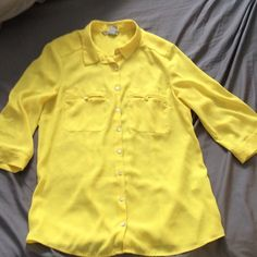 H&M sheer banana yellow button-up, 3/4 sleeves Bright yellow button-up with opal-like buttons, 3/4 length sleeves that can be easily rolled up, and real(!) chest pockets H&M Tops Button Down Shirts