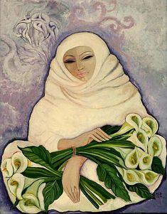 """Laila Shawa, Palistinian, """"The Lily Seller"""" (1989)"""