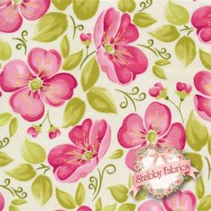 """Blushing 7875-42 by Margot Languedoc for Henry Glass Fabrics: Blushing is a colorful collection by Margot Languedoc for Henry Glass Fabrics.  100% cotton, 44/45"""".  This fabric features a large floral in pink on an off white background."""
