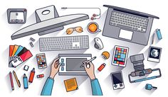 Flat design vector illustration of modern creative office workspace, workplace of a designer. The office of a creative worker. Flat minimalistic style and color with long shadows for Web & Mobile App - stock vector Tattoo Studio, Elearning Industry, Design Plano, Flat Design Illustration, Office Workspace, Living At Home, Learning Tools, Educational Technology, Photography Business