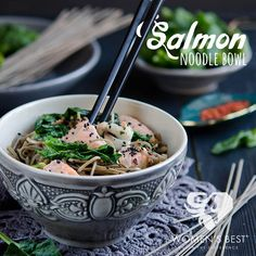 Spruce up your salmon with this yummy-licious noodle bowl! This makes a great post-workout dinner.