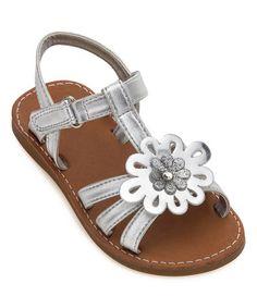 This Silver Metallic Flower Platinum Sandal is perfect! #zulilyfinds