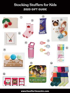 Our Gift Guide for Stocking Stuffers for Kids — See all of our gift ideas at TheEffortlessChic.com/tag/gift-guide
