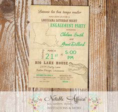 Cajun Style Vintage Louisiana Alligator Baby Shower Bridal Shower Engagement Party etc invitation - choose your accent font color only by NotableAffairs on Etsy https://www.etsy.com/listing/222755275/cajun-style-vintage-louisiana-alligator