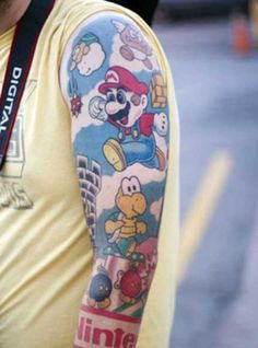 50 Best Gamer Tattoo Designs and Ideas - Beste Tattoo Ideen Nintendo Tattoo, Gaming Tattoo, Gamer Tattoos, Cartoon Tattoos, Tatoos, Key Tattoos, Super Mario Tattoo, Girls With Sleeve Tattoos, Tattoos For Guys