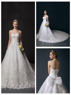 Strapless Beaded A-line Wedding Dress