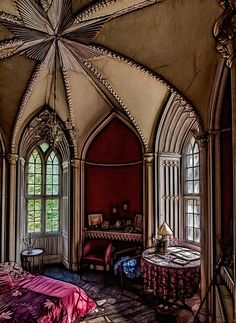 Love this bedroom with Gothic Windows