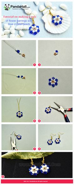 Tutorial on making a pair of flower earrings with blue crystal beads Seed Bead Jewelry, Bead Jewellery, Diy Earrings, Flower Earrings, Bead Crafts, Jewelry Crafts, Earring Tutorial, Diy Tutorial, Beaded Jewelry Patterns