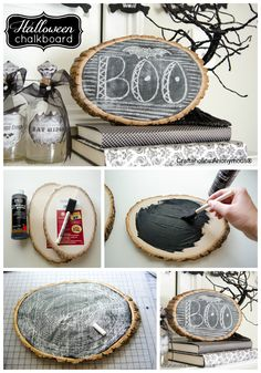 Learn how to make a trendy wood slice chalkboard! Perfect for everyday decorating. Doodle on some Halloween chalk art for a fun Halloween craft! Crafts To Do, Fall Crafts, Holiday Crafts, Holiday Fun, Diy Crafts, Holiday Decor, Holidays Halloween, Fall Halloween, Halloween Crafts