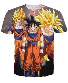 Dragon Ball Z - SSJ1 SSJ 2 SSJ 3 Super Saiyan Goku T-shirt - 3D Clothing