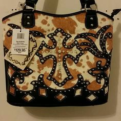 GENUINE ITALIAN LEATHER BLIND COWGIRL PURSE Beautiful Italian leather purse with faux hide & rhinestone & stud accents. New with tags. Retails at $129.95. casual outfitters Bags Shoulder Bags