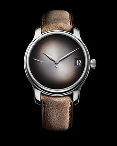 """The H. Moser & Cie Endeavour Perpetual Calendar Concept features the brand's hallmark, smoke-gray """"fume"""" dial with sunburst pattern; the hours and minutes are indicated by leaf-shaped hands, while an arrow-tipped hand points to the month. Read more at: http://www.watchtime.com/wristwatch-industry-news/watches/sihh-2016-preview-h-moser-cie-endeavour-perpetual-calendar-concept/ #watchtime #horology #watchnerd #menswatches #SIHH2016"""