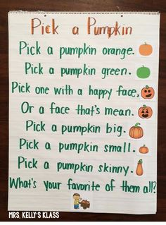 This is great poem for kindergarten to be used in a poetry unit while web basing the curriculum on the theme of the Fall season. I chose this poem to teach in class because it is fun and the descriptive language facilitates comprehension skills. Fall Preschool, Preschool Songs, Preschool Ideas, Teaching Ideas, Preschool Centers, Preschool Classroom, Halloween Activities, Autumn Activities, Halloween Crafts For Kindergarten