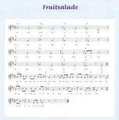 Bladmuziek - Fruitsalade: appel aardbei abrikozen - druiven dadels en meloen - bramen bessen en frambozen - sinaasappels en citroen - papaya banaan en ananas - mango - ... - kiwi kiwi kokosnoot