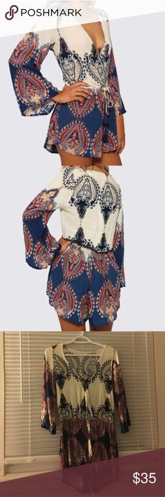 boho v neck romper Super cute - loved and worn but in good condition Super soft material great for summer/spring! size S // not fp only for expo Free People Dresses Mini