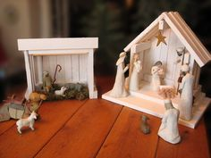 Nativity Creche Stable for Willow Tree Willow Tree Nativity, Nativity Creche, Nativity Stable, Willow Tree Figurines, Christmas Nativity Scene, Nativity Crafts, Christmas Makes, Tree Crafts, Rustic Christmas