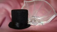Wedding Cake Topper Top Hat and Veil | cre8urname - Wedding on ArtFire