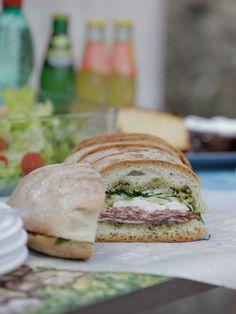 Marinated Salumi Sandwich recipe from Giada De Laurentiis via Food Network Giada In Italy Recipes, Giada Recipes, Cooking Recipes, Dinner Recipes, A Food, Good Food, Food And Drink, Yummy Food, Healthy Food
