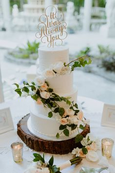 Perfect rustic boho simple wedding cake with real roses and ivy. <3  Wedding cake by Publix, cake topper by Etsy seller 'Better Off Wed'