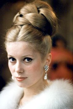 Catherine Deneuve, November 1963 This was the height of hair fashion way back in the late 60's.... a fave for weddings and High School formal dances:)