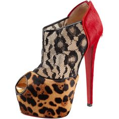 Christian Louboutin Aeronotoc Calf Hair & Lace Red Sole Bootie ($2,395) ❤ liked on Polyvore