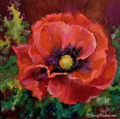 """Daily Paintworks - """"Desert Heat Red Poppy"""" - Original Fine Art for Sale - © Nancy Medina Watercolor Flowers, Watercolor Paintings, Gouache Painting, Pour Painting, Arte Floral, Red Poppies, Yellow Roses, Pink Roses, Flower Art"""
