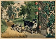Currier & Ives (American, 1837–1907). Pussy's Return, 1857–1907. The Metropolitan Museum of Art, New York. Bequest of Adele S. Colgate, 1962 (63.550.314) #cats