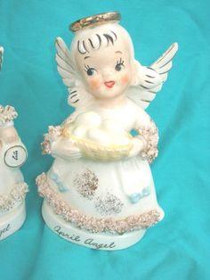 Vintage Pair Napco Angels April January Figurine | #1788694614