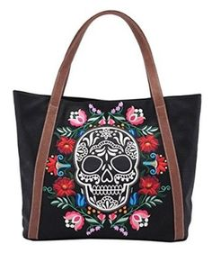 Loungefly Floral Sugar Skull Black Tote Bag Purse dd87d5b7b780d