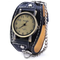 BOLUN C36 Vintage Color Dial Wide Leather Band Quartz Male Watch with Chain #>=#>=#>=#>=#> Click on the pin to check out discount price, color, size, shipping, etc. Save and like it!