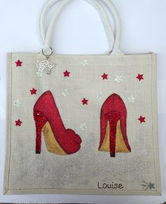Ruby shoes hand painted bag - Once Upon A Dream - Diy Tote Bag, Diy Purse, Painted Bags, Hand Painted, Accessoires Divers, Flower Bag, Jute Bags, Fabric Bags, Fabric Painting