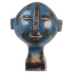 An eye-catching addition to your mantel or etagere, this ceramic sculpture features a stylized face design and warmly weathered finish. Display it alone as a. Decorative Objects, Decorative Accessories, Sculpture Art, Sculptures, Outdoor Statues, 3d Artwork, Clay Design, Face Design, Ceramic Clay
