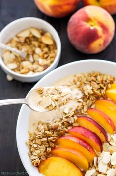 Peach Pie Smoothie Bowl   Thick, creamy, full of protein, and tastes just like a piece of peach pie!