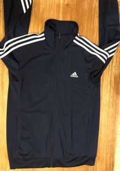 M or L NAVY NWT Adidas Mens Essential Full Zip Track Jacket 3 Stripes GRAY