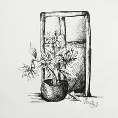 Black ink. Window and flowers