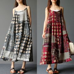 Brand: Gracila Specification: Sleeve Length:Sleeveless Color:Red,Navy Style:Vintage,Bohemian Dress Length:Mid-Calf Pattern:Patchwork Material:Cotton Season:Summer Package included: 1*Dress Please Note: The printed of this dress is random, we apologize for any inconvenience this may cause.