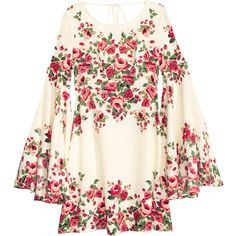 Dress with Trumpet Sleeves $34.99 ($35) ❤ liked on Polyvore featuring dresses, tops, short floral dresses, floral pattern dress, short white dresses, white dress and long-sleeve mini dress