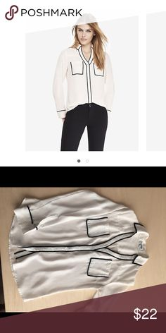 Express portofino shirt Express portofino shirt white with black trim. Express Tops Blouses