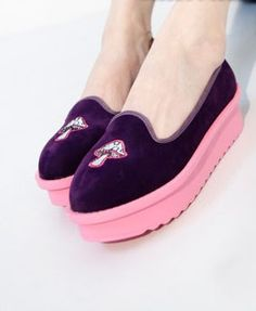 Purple Suede Flatform Shoes -love purple and pink!